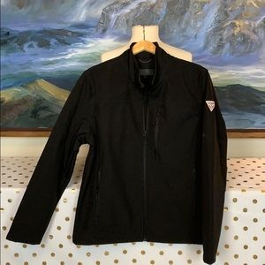 Guess black zip up jacket w/ triangle patch size L